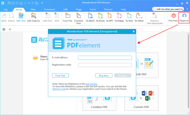 registrare pdfelement per windows