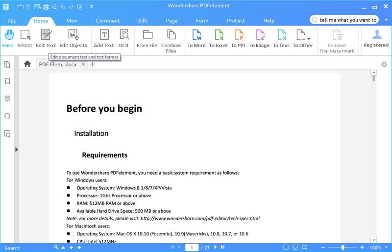 pdfelement toolbar