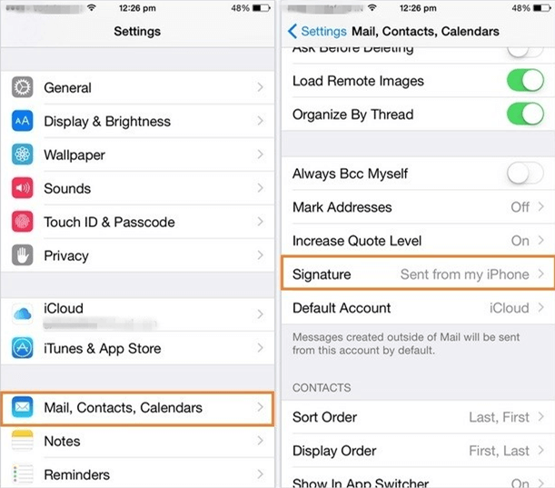 how to change the font color on iphone email signature