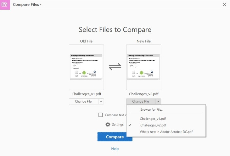 compare two pdf files with adobe acrobat