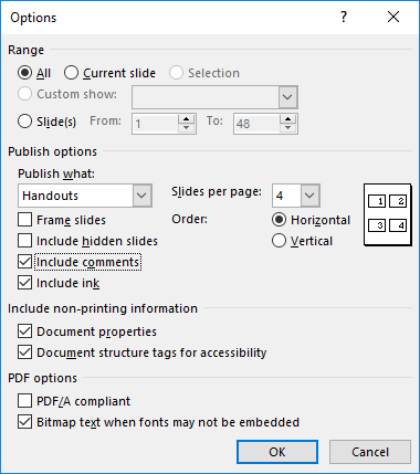 how to save powerpoint as pdf with notes