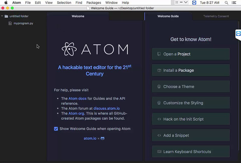 atom HTML editor macos 10.15