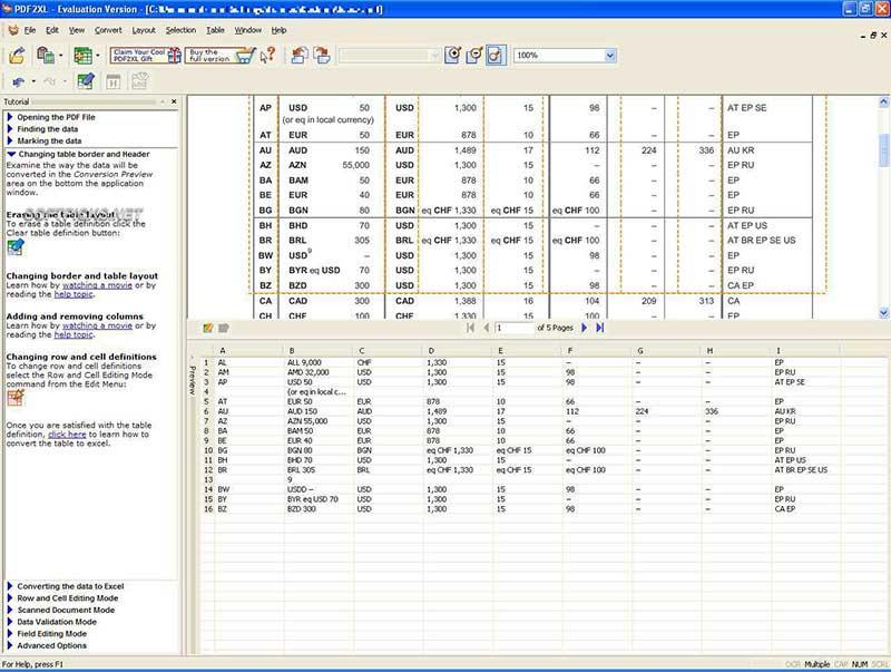 conversor online PDF para Excel
