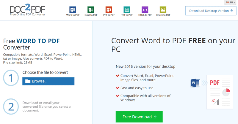 convert word and excel to pdf free