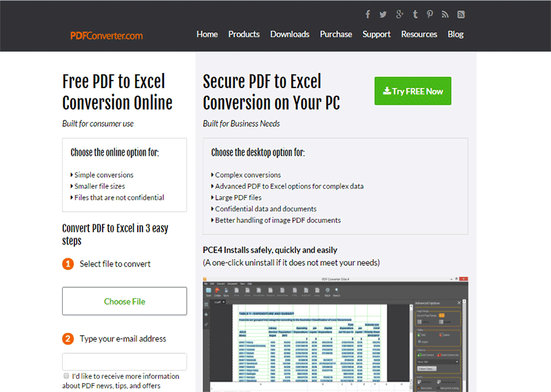 melhores conversores on-line gratuitos de PDF para Excel