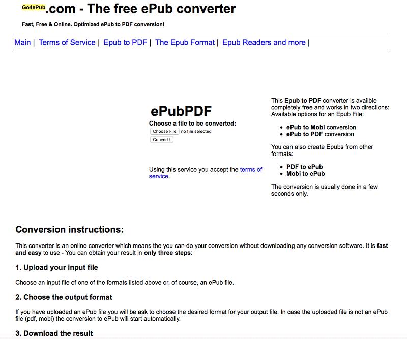 online epub to pdf