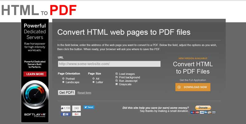 free html to pdf