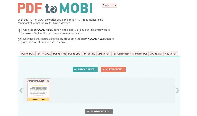 convert pdf to mobi