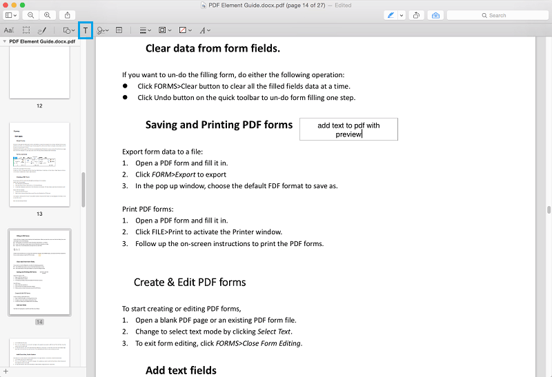 add text to pdf with preview on mac