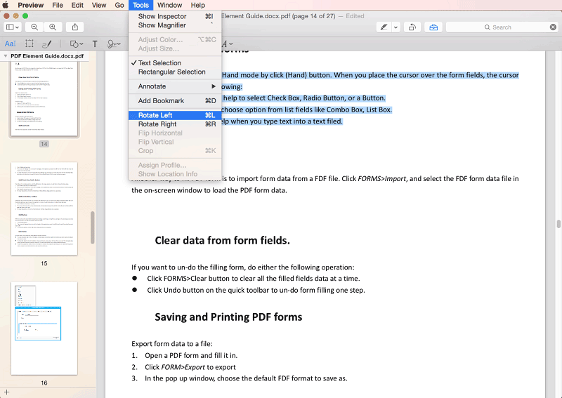 rotate pdf with preview on mac