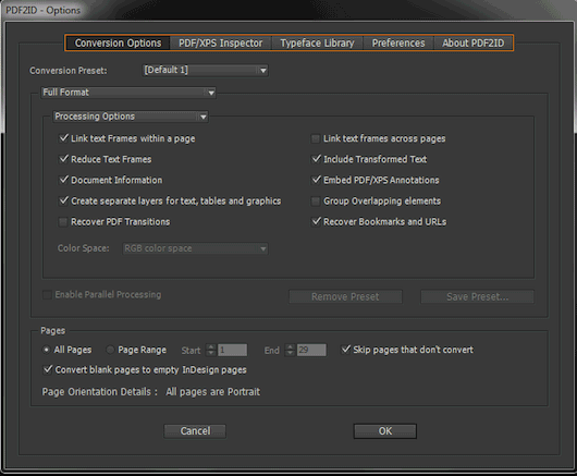 convert pdf into InDesign