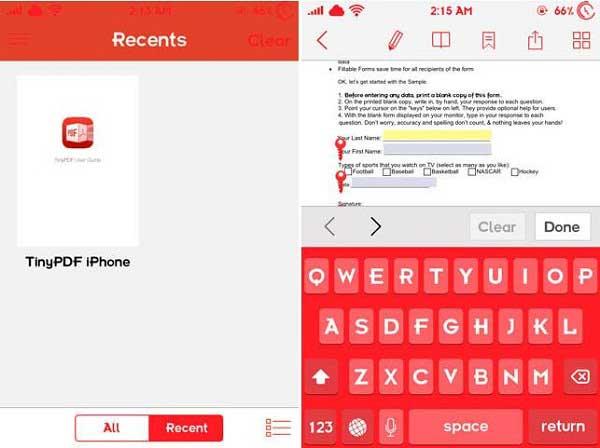 tinypdf remplir pdf sur iphone