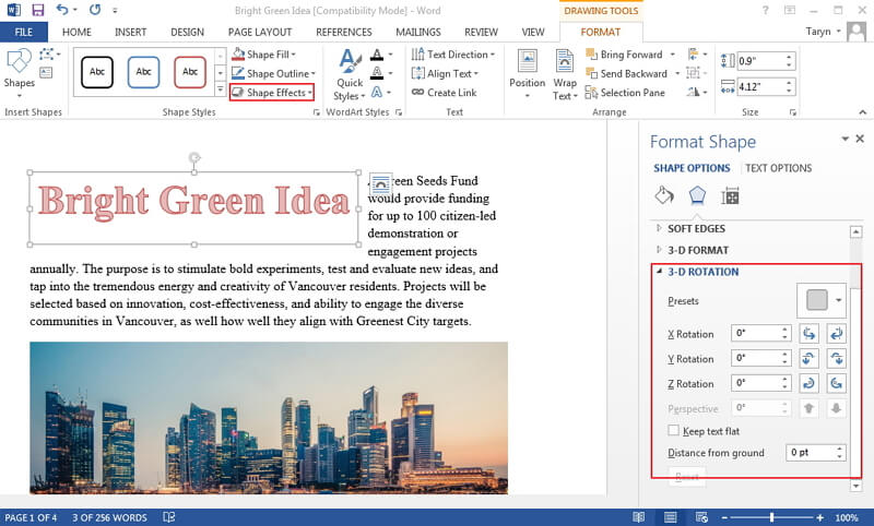 how to mirror text in word
