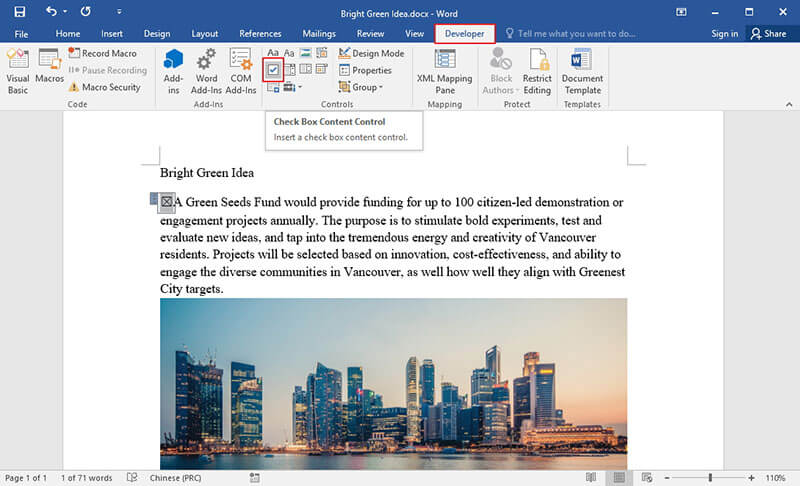 how to add checkbox in word