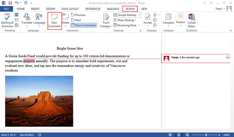how to add comments in word