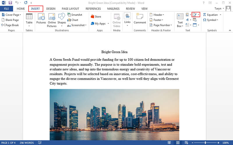 how to do electronic signature in word