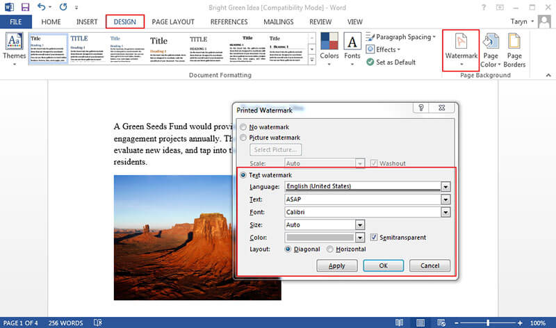 how to watermark a picture in word
