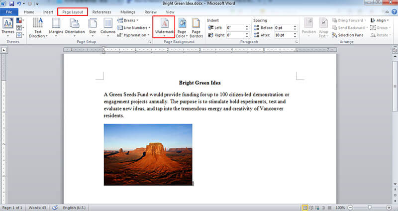 how to get rid of watermark in word