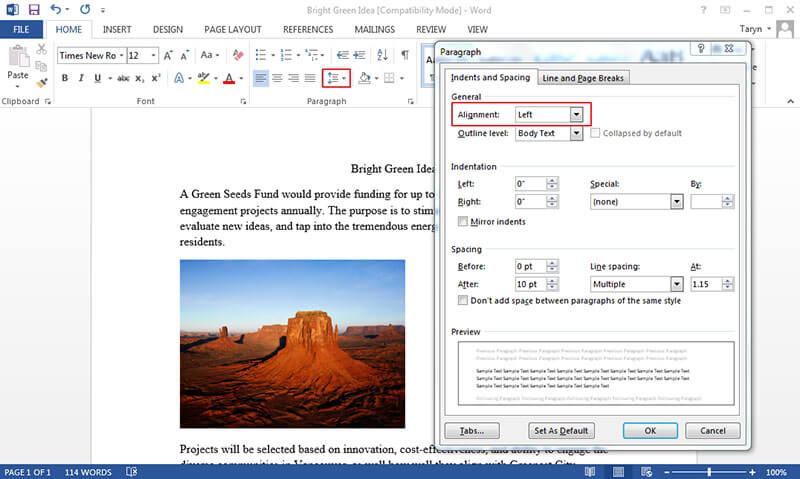 how to align tables in word