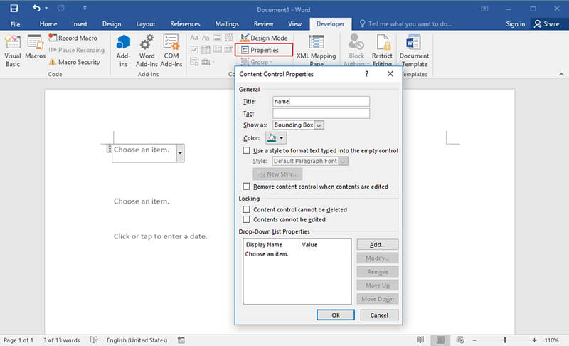 make word document fillable