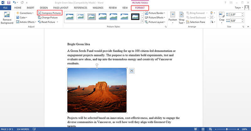 how to edit an image in word
