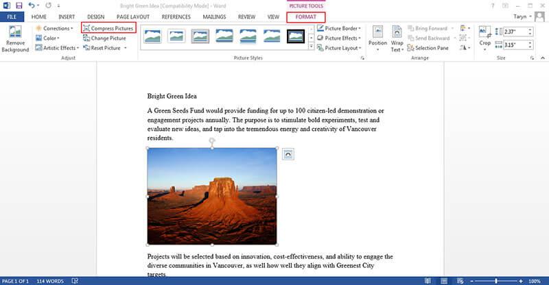 editar imagen en word
