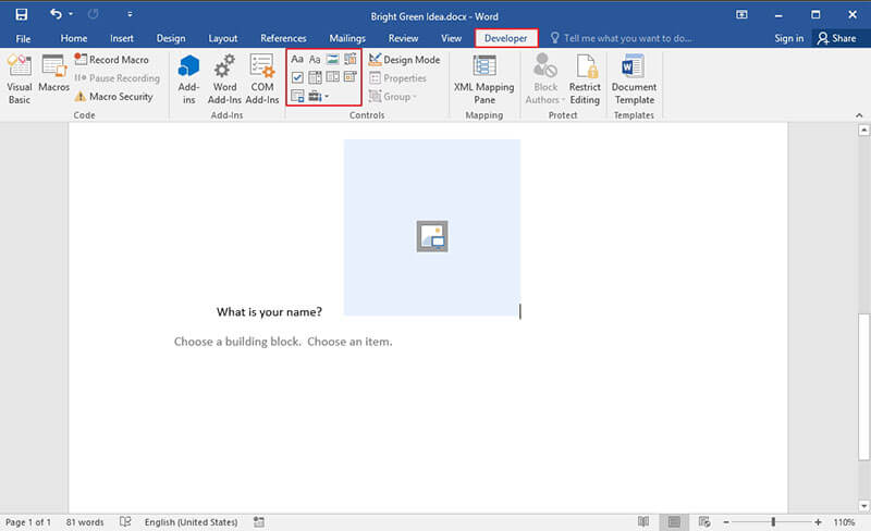 create a questionnaire in word