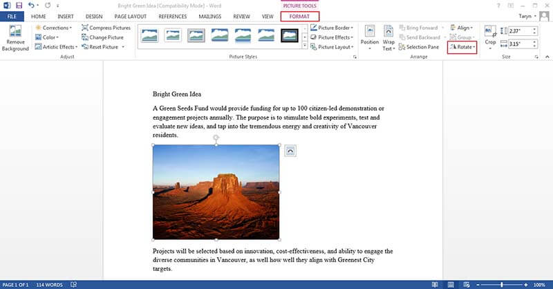 how to flip a picture in word