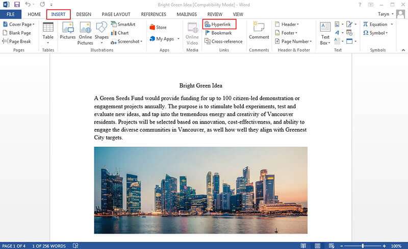 create hyperlink in word