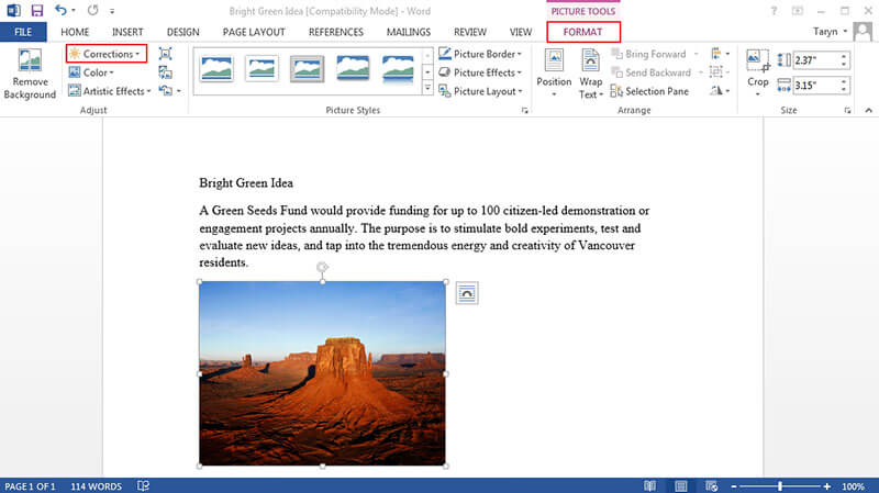 how to edit photos in word
