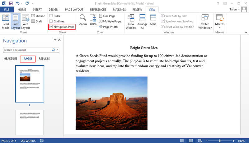 how to insert a page in word from another document