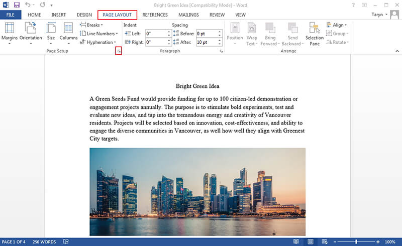 Rotate Page in Word