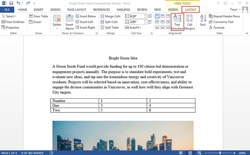 Rotate Table in Word