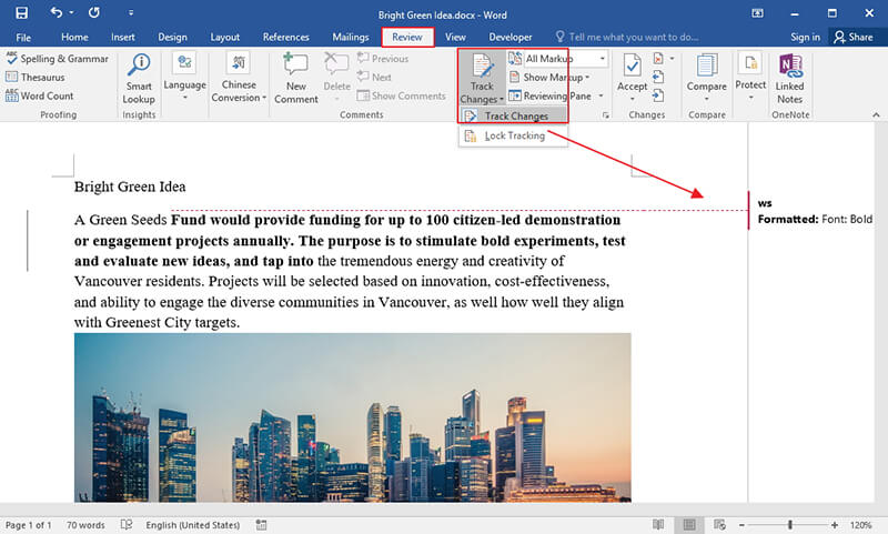 turn on track changes in word