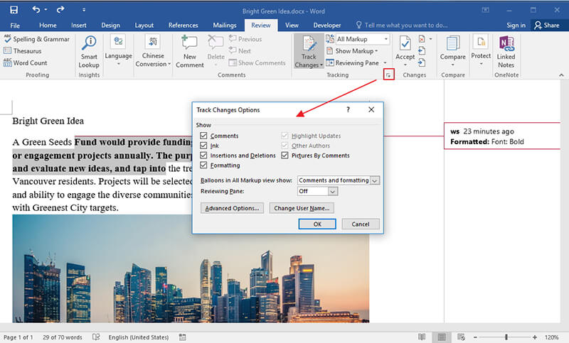 turn off track changes in word