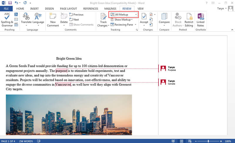 show comments in word
