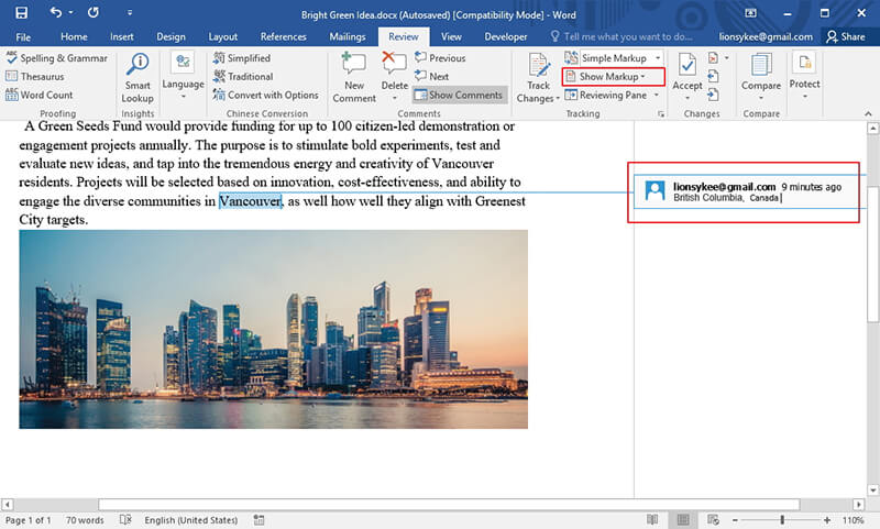 how to view comments in word