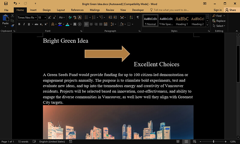 how to insert arrow in word