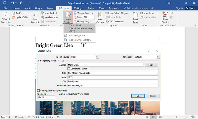 how to insert citation in word